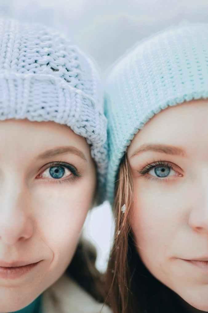 women in blue shade knit cap